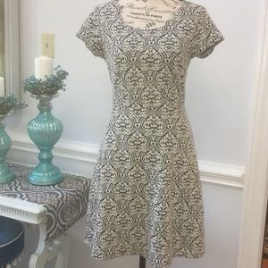 Maison Jules Black And White Print Dress Small